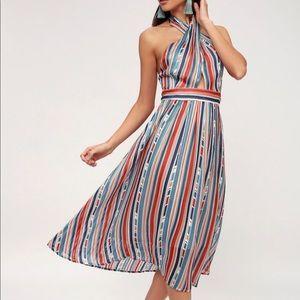 lulus teal blue striped halter midi dress NEW!